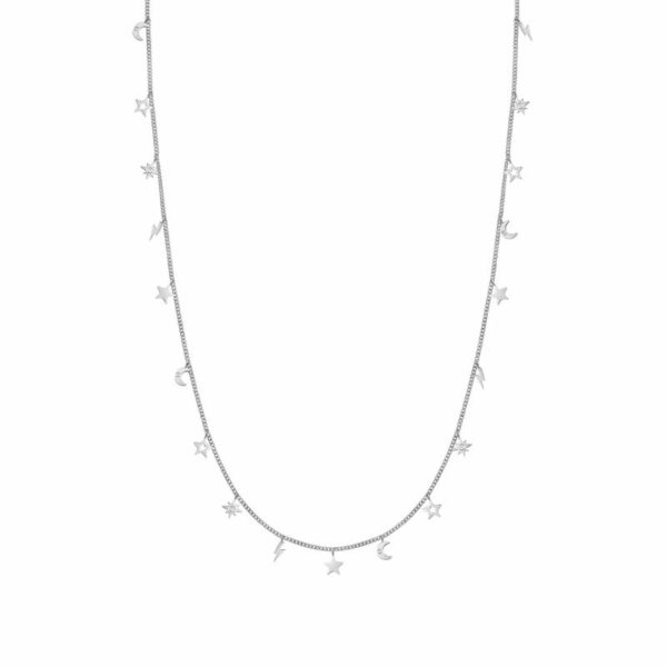 STARDUST Necklace in stainless steel with cz (LONG) (050_Mixed)