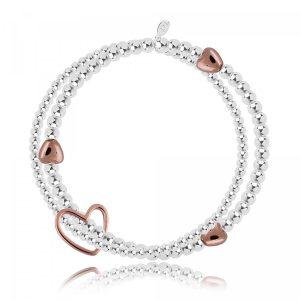 LILA - bracelet - silver and rose gold heart double strand bracelet with rose gold linking heart