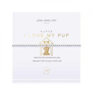 A LITTLE | I LOVE MY PUP | Silver | Bracelet | 17.5cm stretch