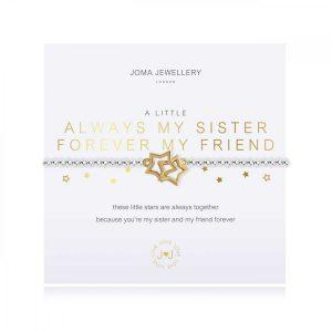 A LITTLE | ALWAYS MY SISTER FOREVER MY FRIEND | Silver | Bracelet | 17.5cm stretch