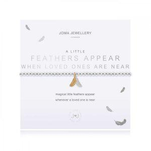 A LITTLE | FEATHERS APPEAR WHEN LOVED ONES ARE NEAR | Silver | Bracelet | 17.5cm stretch