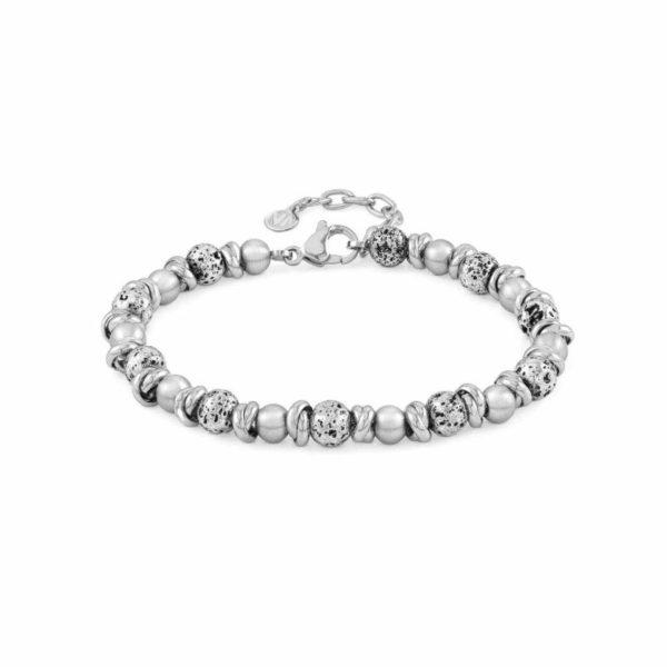 INSTINCT ed, VULCANO bracelet in antiqued steel (031_Rings, spheres and lava)