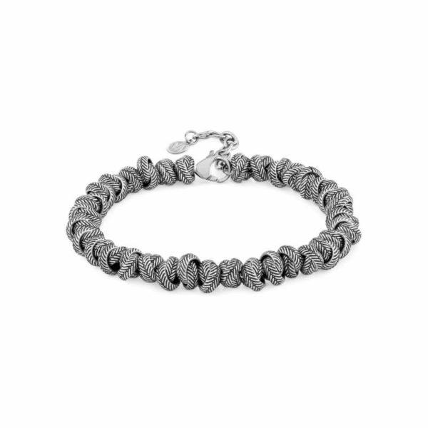 INSTINCT ed, VULCANO bracelet in antiqued steel (032_Intertwined rings)