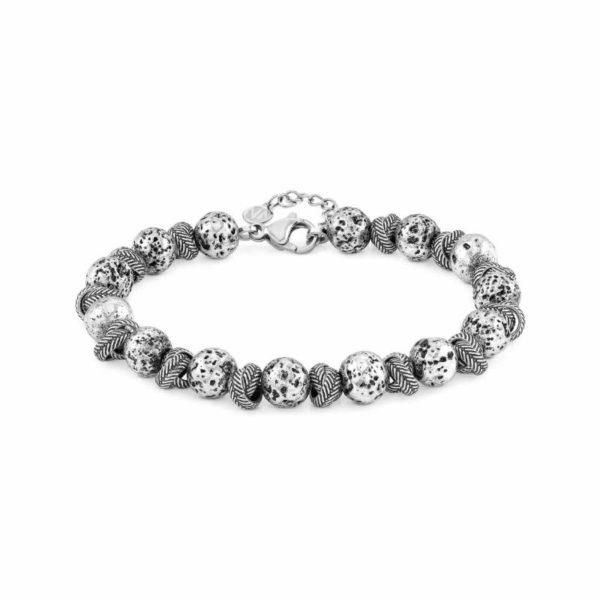 INSTINCT ed, VULCANO bracelet in antiqued steel (033_Intertwined rings and lava)