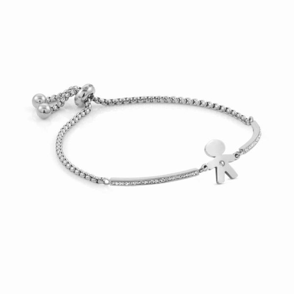 MILLELUCI bracelet in stainless steel and cubic zirconia (027_Baby boy)