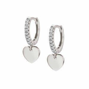CHIC&CHARM earrings in 925 silver and cubic zirconia (RICH) (001_Silver Heart)