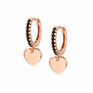 CHIC&CHARM earrings in 925 silver and cubic zirconia (RICH) (002_Rose Gold Heart)
