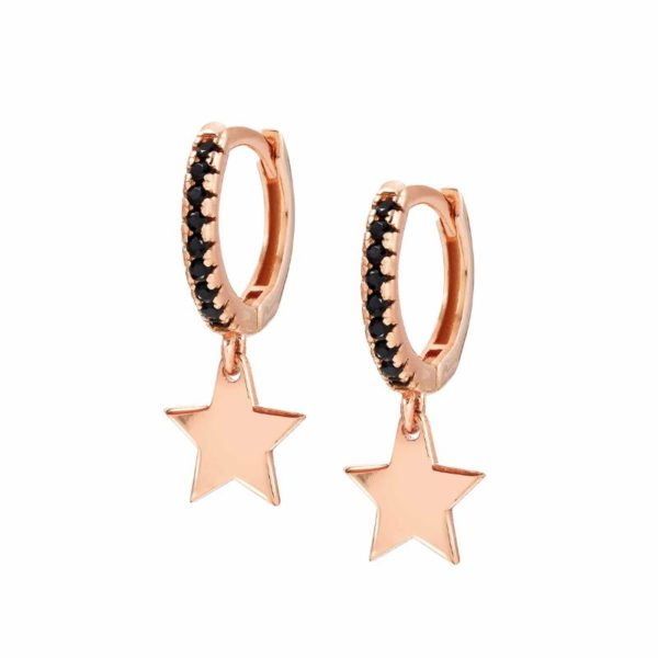 CHIC&CHARM earrings in 925 silver and cubic zirconia (RICH) (033_Rose Gold Star)
