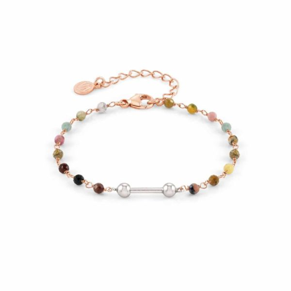 SEIMIA bracelet in 925 silver with stones (050_Tourmalines with rose gold fin)