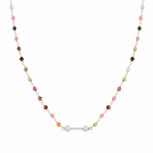 SEIMIA necklace in 925 silver with stones (050_Tourmalines with rose gold fin)