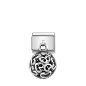Composable Classic CHARMS ROUND CAGES steel, 925 silver and stones (02_BLACK AGATE Hearts)