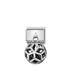 Composable Classic CHARMS ROUND CAGES steel, 925 silver and stones (04_BLACK AGATE rhombuses)