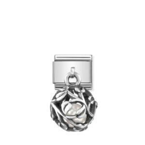 Composable Classic CHARMS ROUND CAGES steel, 925 silver and stones (05_WHITE PEARL Leaves)