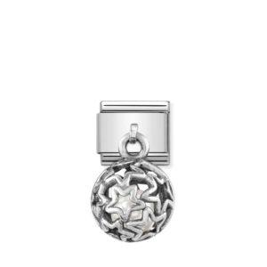 Composable Classic CHARMS ROUND CAGES steel, 925 silver and stones (07_WHITE PEARL stars)